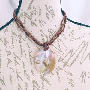 Brown Blister Pearl Necklace Handmade